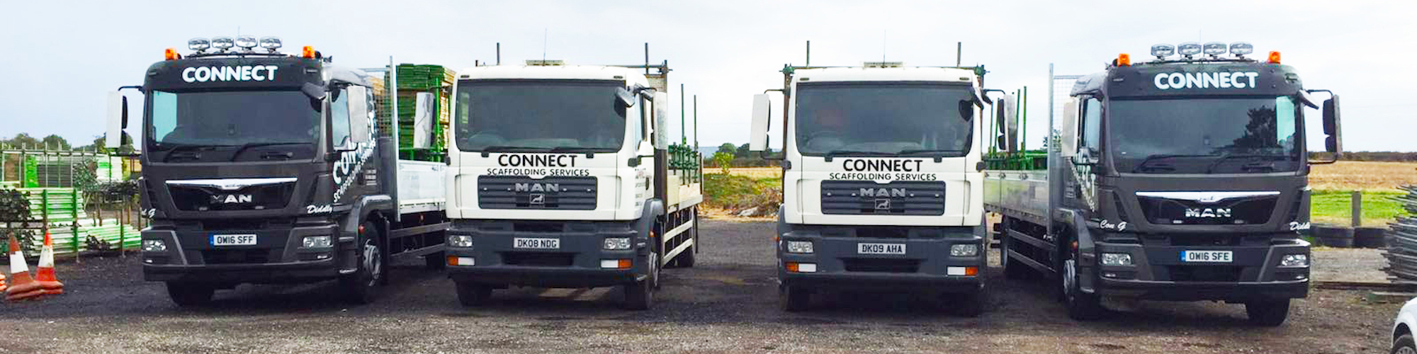 colour image of trucks of connect scaffolding thame oxfordshire