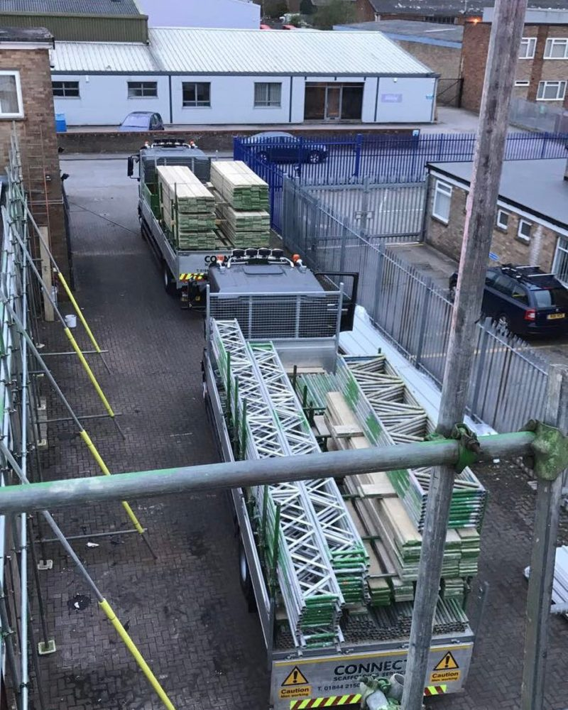 Our trucks loaded up on a site in Thame - Connect Scaffolding Services, Thame, Oxfordshire